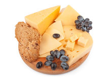 Cheeses on wooden Stock Images