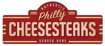 Cheesesteak Sign Vintage. Cheesesteak Cheese Steak Philly Sign Logo Art Vintage Retro Metal Tin authentic restaurant Philadelphia Ginos royalty free illustration