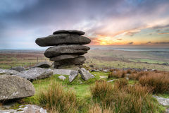 The Cheesewring a Rock Formation on Bodmin Moor. The Cheesewring a huge granite rock formation near the Minions on Bodmin Moor in Cornwall Royalty Free Stock Photo