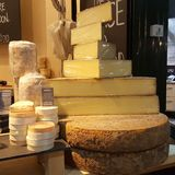 Cheesey times. Cheese wheels at borough market Stock Image