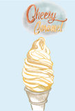 Cheest cream soft serve in waffle cone , Hand drawn illustration. Vector , water color style Royalty Free Stock Photography