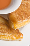 Cheesy. Grilled cheese sandwich on a white plate shot with a macro lens Royalty Free Stock Photos