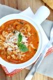 Cheesy Beefaroni Soup Stock Images