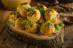 Cheesy bites with blue cheese and pepper Stock Photo