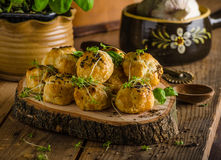 Cheesy bites with blue cheese and pepper Stock Photography