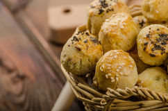 Cheesy Bites with garlic and blue cheese Stock Images
