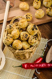 Cheesy Bites with garlic and blue cheese Royalty Free Stock Images