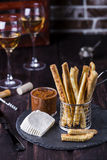Cheesy breadsticks with chili and thyme Stock Image