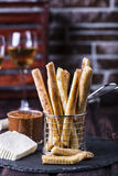 Cheesy breadsticks with chili and thyme Royalty Free Stock Image