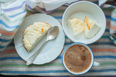 Cheesy Egg Casserole and Coffee. Cottage cheese souffle with natural yoghurt Stock Image