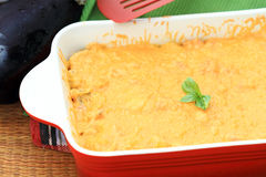 Cheesy Eggplant Casserole Stock Photo