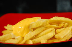 Cheesy fries. Drizzled with nacho cheese Royalty Free Stock Photography