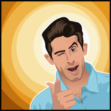 Cheesy Guy. A digital illustration of a cheesy looking bloke pointing and winking Stock Photos