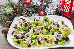 Cheesy lettuce boat appetizers at a Christmas holiday party Royalty Free Stock Photos