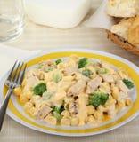 Cheesy Macaroni and Chicken Stock Photo