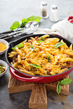 Cheesy pasta bake with ground beef and herbs Stock Photos