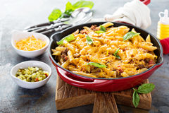 Cheesy pasta bake with ground beef and herbs Royalty Free Stock Image