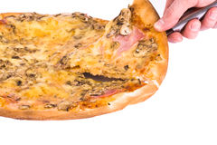 Cheesy pizza. Serving hot pizza with cheese. Shot in studio royalty free stock image