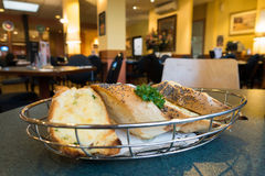 Cheesy toast in hotel bistro Stock Image