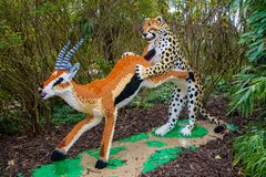 A Cheetah chasing an Antelope  statue made from Lego bricks. CHESTER, UNITED KINGDOM - MARCH 27TH 2019: A Cheetah chasing an Antelope  statue made from Lego stock photography