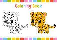Cheetah. Coloring book for kids. Cheerful character. Vector illustration. Cute cartoon style. Hand drawn. Fantasy page for. Coloring book for kids. Cheerful vector illustration