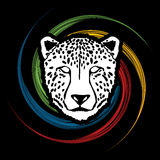 Cheetah face. Designed on spin wheel background graphic vector Royalty Free Stock Image