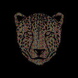 Cheetah face. Designed using colorful mosaic pattern graphic vector Stock Images