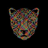 Cheetah face. Designed using colorful pixels graphic vector Royalty Free Stock Images