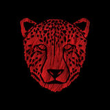 Cheetah face. Designed using red grunge brush graphic vector Royalty Free Stock Photography