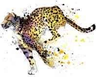 cheetah gepardillustrationvattenfärg stock illustrationer