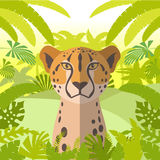 Cheetah on the Jungle Background. Flat Vector image of the Cheetah on the Jungle Background Royalty Free Stock Image