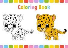 cheetah Livre de coloriage pour des enfants Caractère gai Illustration de vecteur Style mignon de bande dessinée Tiré par la main illustration de vecteur