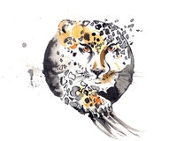Cheetah. Painting of composition with wild animals stock illustration