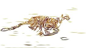 Cheetah running pencil draw cartoon animation seamless endless loop new quality unique handmade dynamic joyful colorful stock video