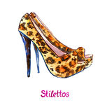 Cheetah spotted suede leather stilettos shoes Stock Image
