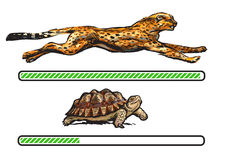 Cheetah and turtle. Fast and slow loading bar. Concept of fast internet connection.Cartoon style hand drawn vector illustration isolated on white background Royalty Free Stock Photos