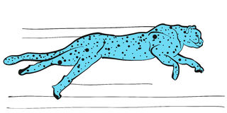Cheetah vector sketch colored blue Royalty Free Stock Photo
