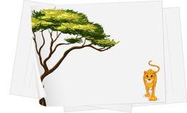 Cheetah walking. Illustration of a cheetah walking on paper Stock Image