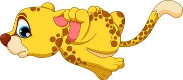 Cheetahl cartoon running. Cute cheetah cartoon running on a white background Stock Photo