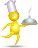 Chef. An unique illustration of a chef holding a covered dish Royalty Free Stock Photos