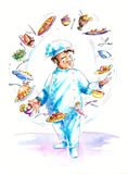 Chef. Juggling with food.Picture I have created myself with watercolors Royalty Free Stock Photo