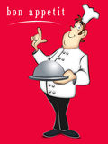 Chef. Cartoon chef holding covered tray of food Stock Image