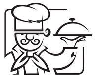 Chef. With tray of food in hand Royalty Free Stock Photography