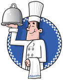 Chef. Cartoon chef presenting his dish Stock Images