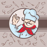 Chef. Illustration of a chef on a background with cooking utensils Stock Photo