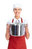 Chef. Woman. Isolated over white background Stock Photography