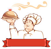 Chef. Cartoon chef carrying dinner plate with perfect meal. Beautiful element for your design Royalty Free Stock Image