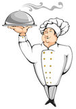 Chef. Cartoon chef carrying dinner plate with perfect meal. Professional element for your design Royalty Free Stock Photography