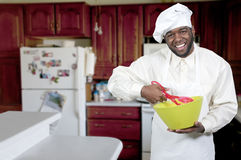 Chef. Black African American male chef showing his approval of the taste of food Stock Photos