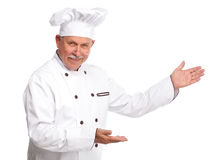 Chef. Mature professional chef man. Isolated over white background Stock Images